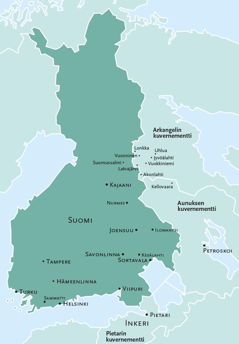 Vanhan runolaulun esiintymisalueet Lönnrotin aikoina. Kuva pohjautuu karttaan, joka on Väinö Kaukosen kirjassa Lönnrot ja Kalevala (1979, sivu 142).