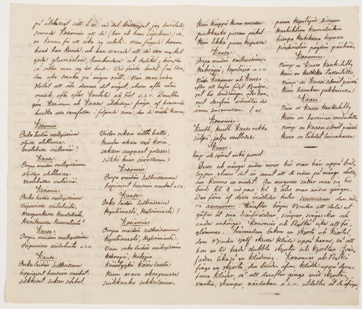 Elias Lönnrotin kirje Eva Agatha Törngrenille 8.7.1828